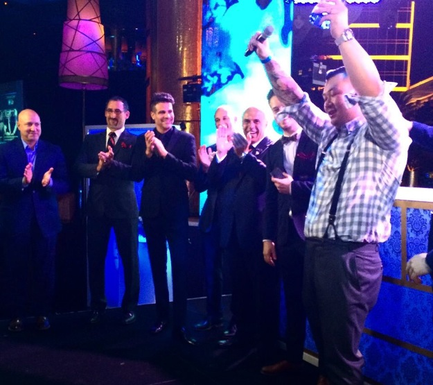 Ran Huan taking first place at the Bombay Sapphire Most Imaginative Bartender national competition at XS nightclub in Las Vegas, Nevada