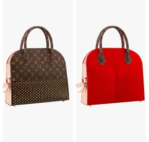 Christian Louboutin lends his amorous signature red detail for the Louis Vuitton Celebrating Monogram collection.
