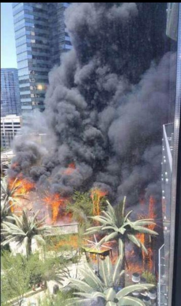 Fire at the Cosmopolitan pool.