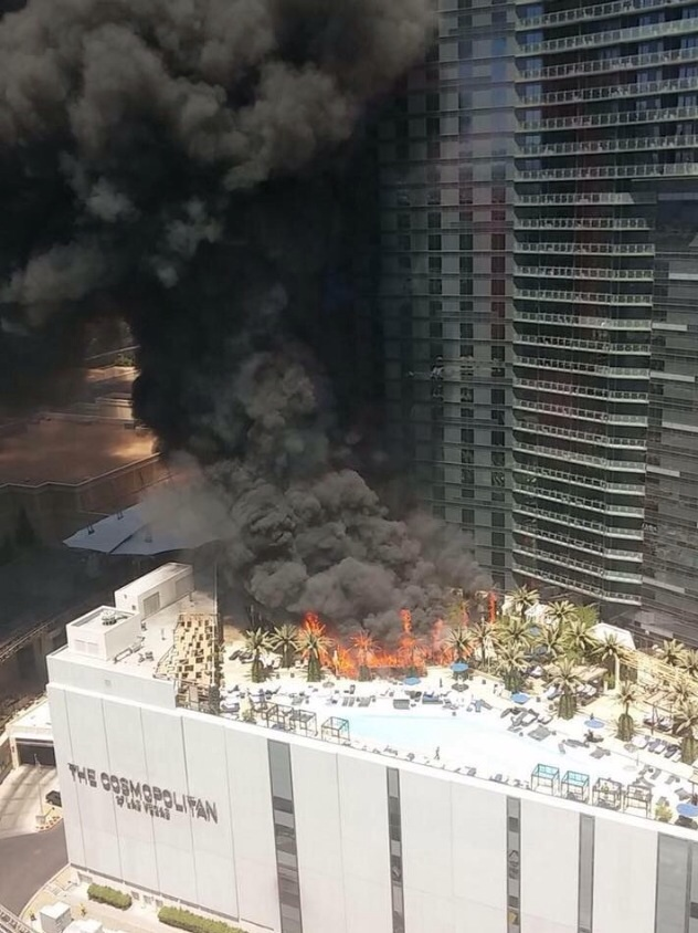 Aerial view of the Cosmopolitan fire.