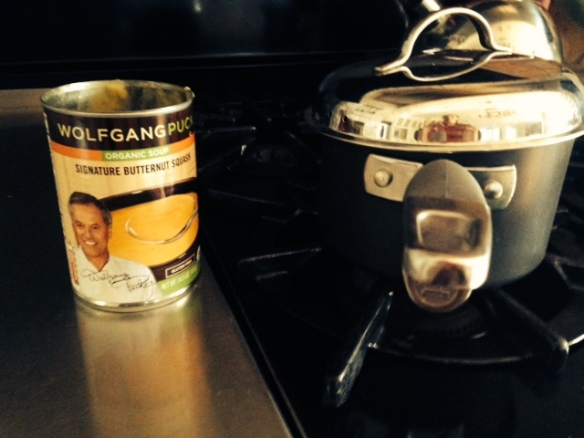 Wolfgang Puck signature butternut squash organic soup in the kitchen.